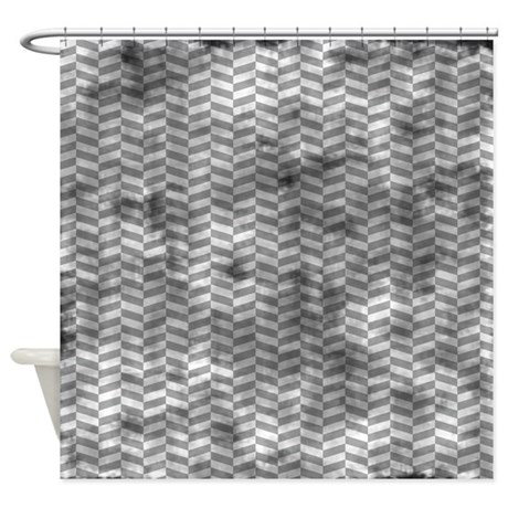 Grungy Grey Herringbone Shower Curtain By Printpatterns