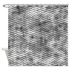 Grungy Grey Herringbone Shower Curtain