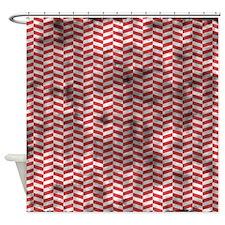 Grungy Red Herringbone Shower Curtain
