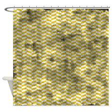 Grungy Yellow Herringbone Shower Curtain