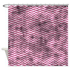 Grungy Pink Herringbone Shower Curtain