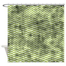 Grungy Green Herringbone Shower Curtain