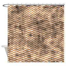Grungy Orange Herringbone Shower Curtain