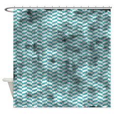 Grungy Blue Herringbone Shower Curtain