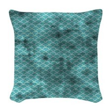 Grungy Blue Fish Scales Woven Throw Pillow
