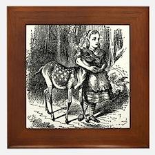 vintage alice in wonderland deer fawn Framed Tile