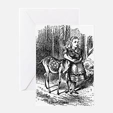 vintage alice in wonderland deer faw Greeting Card