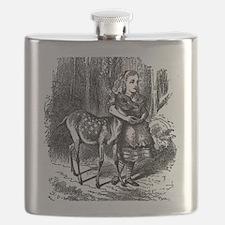 vintage alice in wonderland deer fawn Flask
