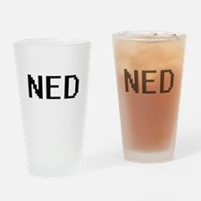 Ned Digital Name Design Drinking Glass