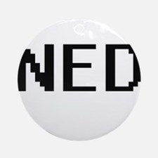 Ned Digital Name Design Ornament (Round)