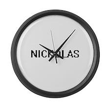 Nickolas Digital Name Design Large Wall Clock