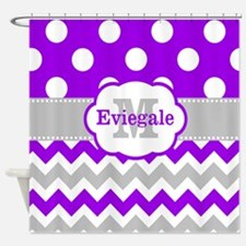 Purple Gray Dots Chevron Monogram Shower Curtain