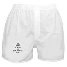Keep Calm and Socialites ON Boxer Shorts