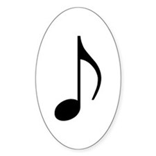 Traditional Basic Black Note Oval Decal