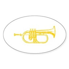 "Woodcut ""Brass"" Trumpet Oval Decal"