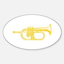 """Woodcut """"Brass"""" Trumpet Oval Decal"""