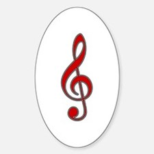 Red Treble Clef Oval Decal