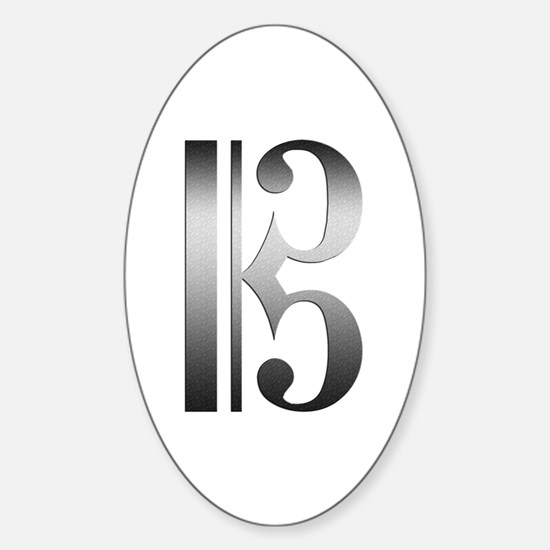 """""""Silver"""" C Clef Oval Decal"""
