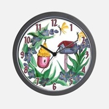 Flowers and Birdhouses Wall Clock