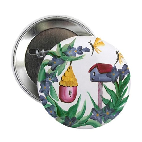 Flowers and Birdhouses Button