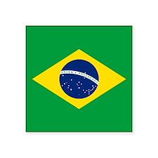 """Brazil Flag Square Sticker 3"""" x 3"""""""