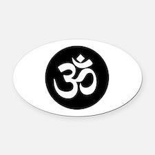 Om Symbol Circle Oval Car Magnet