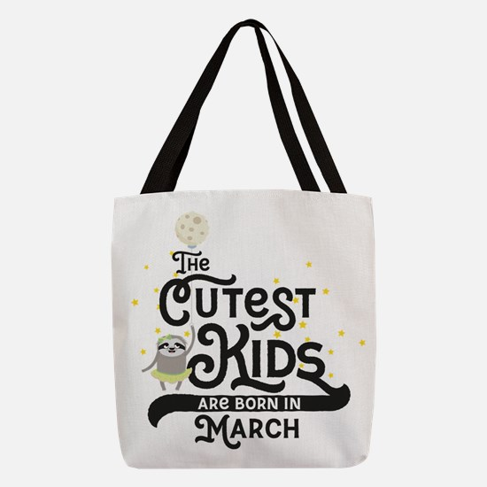 Cutest Kids Sloth born in March Polyester Tote Bag