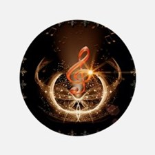 Music, clef with awesome light effect Button
