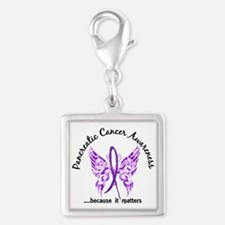 Pancreatic Cancer Butterfly 6 Silver Square Charm