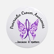 Pancreatic Cancer Butterfly 6.1 Ornament (Round)