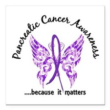 """Pancreatic Cancer Butter Square Car Magnet 3"""" x 3"""""""