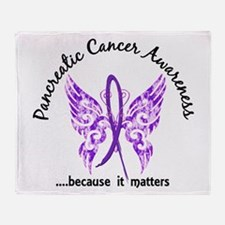 Pancreatic Cancer Butterfly 6.1 Throw Blanket