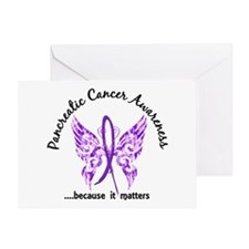 Pancreatic Cancer Butterfly 6.1 Greeting Card