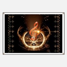 Music, clef with awesome light effect Banner