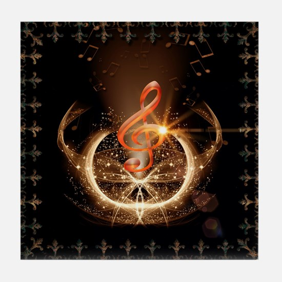 Music, clef with awesome light effect Tile Coaster