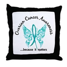 Ovarian Cancer Butterfly 6.1 Throw Pillow