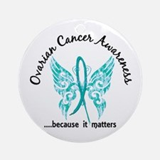 Ovarian Cancer Butterfly 6.1 Ornament (Round)