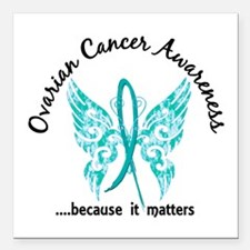 "Ovarian Cancer Butterfly Square Car Magnet 3"" x 3"""