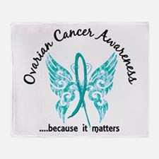 Ovarian Cancer Butterfly 6.1 Throw Blanket