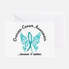 Ovarian Cancer Butterfly 6.1 Greeting Card