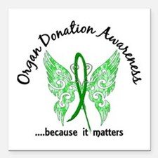 "Organ Donation Butterfly Square Car Magnet 3"" x 3"""