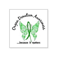 """Organ Donation Butterfly 6. Square Sticker 3"""" x 3"""""""