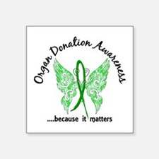 "Organ Donation Butterfly 6. Square Sticker 3"" x 3"""
