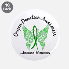 """Organ Donation Butterfly 6.1 3.5"""" Button (10 pack)"""