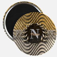 Wavy Sq Gold Platinum Monogram Magnets