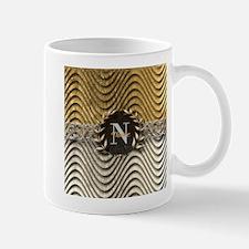 Wavy Sq Gold Platinum Monogram Mugs