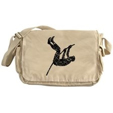 Distressed Pole Vaulter Silhouette Messenger Bag