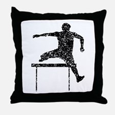 Distressed Hurdles Silhouette Throw Pillow