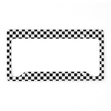 Black & White Checkerboard License Plate Holder
