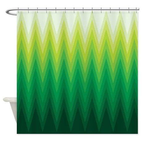 Green Ombre Chevron Shower Curtain By V Ink